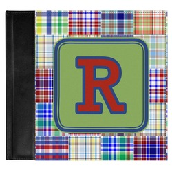 Blue Madras Plaid Print Genuine Leather Baby Memory Book (Personalized)