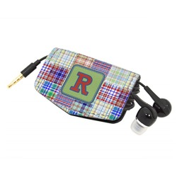 Blue Madras Plaid Print Genuine Leather Cord Wrap (Personalized)