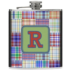 Blue Madras Plaid Print Genuine Leather Flask (Personalized)