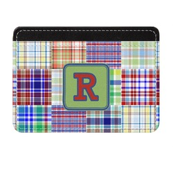 Blue Madras Plaid Print Genuine Leather Front Pocket Wallet (Personalized)
