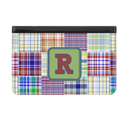 Blue Madras Plaid Print Genuine Leather ID & Card Wallet - Slim Style (Personalized)