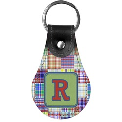 Blue Madras Plaid Print Genuine Leather  Keychain (Personalized)
