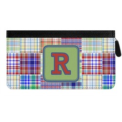 Blue Madras Plaid Print Genuine Leather Ladies Zippered Wallet (Personalized)