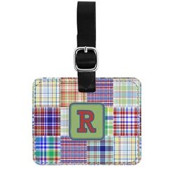 Blue Madras Plaid Print Genuine Leather Rectangular  Luggage Tag (Personalized)