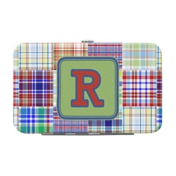 Blue Madras Plaid Print Genuine Leather Small Framed Wallet (Personalized)