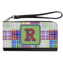 Blue Madras Plaid Print Genuine Leather Smartphone Wrist Wallet (Personalized)