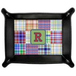 Blue Madras Plaid Print Genuine Leather Valet Tray (Personalized)