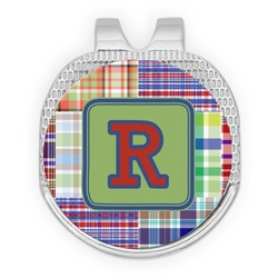 Blue Madras Plaid Print Golf Ball Marker - Hat Clip