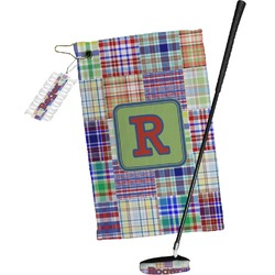 Blue Madras Plaid Print Golf Towel Gift Set (Personalized)