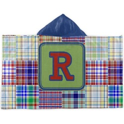 Blue Madras Plaid Print Kids Hooded Towel (Personalized)