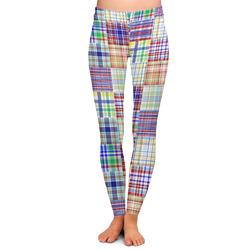 Blue Madras Plaid Print Ladies Leggings (Personalized)