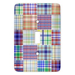 Blue Madras Plaid Print Light Switch Cover (Single Toggle) (Personalized)