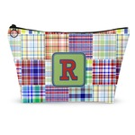 Blue Madras Plaid Print Makeup Bags (Personalized)