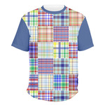 Blue Madras Plaid Print Men's Crew T-Shirt (Personalized)