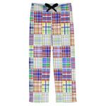 Blue Madras Plaid Print Mens Pajama Pants (Personalized)
