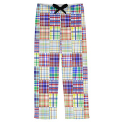 Blue Madras Plaid Print Mens Pajama Pants (Personalized)
