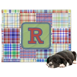 Blue Madras Plaid Print Minky Dog Blanket - Large  (Personalized)