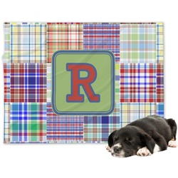 Blue Madras Plaid Print Minky Dog Blanket (Personalized)