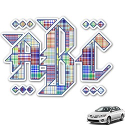 Blue Madras Plaid Print Monogram Car Decal (Personalized)