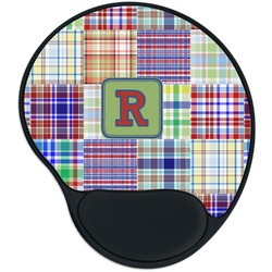 Blue Madras Plaid Print Mouse Pad with Wrist Support