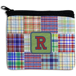 Blue Madras Plaid Print Rectangular Coin Purse (Personalized)