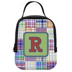 Blue Madras Plaid Print Neoprene Lunch Tote (Personalized)