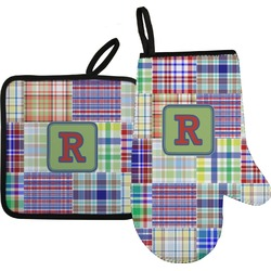 Blue Madras Plaid Print Oven Mitt & Pot Holder (Personalized)