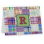Blue Madras Plaid Print Note cards (Personalized)