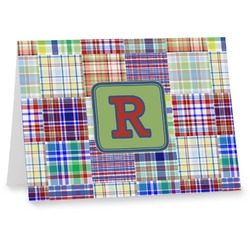 Blue Madras Plaid Print Notecards (Personalized)