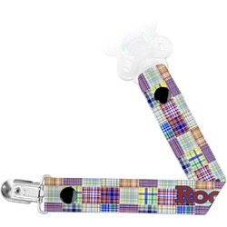 Blue Madras Plaid Print Pacifier Clips (Personalized)