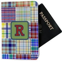 Blue Madras Plaid Print Passport Holder - Fabric (Personalized)