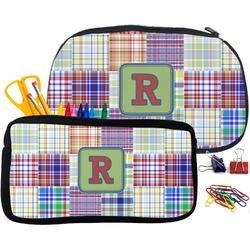 Blue Madras Plaid Print Pencil / School Supplies Bag (Personalized)