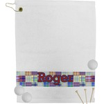 Blue Madras Plaid Print Golf Towel (Personalized)