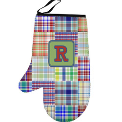 Blue Madras Plaid Print Left Oven Mitt (Personalized)