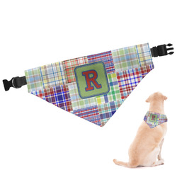 Blue Madras Plaid Print Dog Bandana - Large (Personalized)
