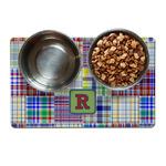 Blue Madras Plaid Print Dog Food Mat (Personalized)