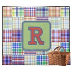 Blue Madras Plaid Print Outdoor Picnic Blanket (Personalized)