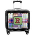 Blue Madras Plaid Print Pilot / Flight Suitcase (Personalized)