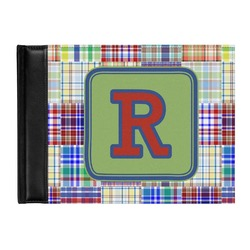 Blue Madras Plaid Print Genuine Leather Guest Book (Personalized)