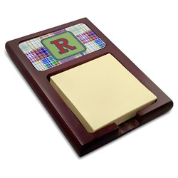 Blue Madras Plaid Print Red Mahogany Sticky Note Holder (Personalized)