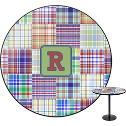 Blue Madras Plaid Print Round Table (Personalized)