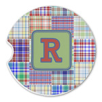 Blue Madras Plaid Print Sandstone Car Coasters (Personalized)