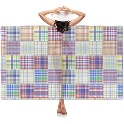Blue Madras Plaid Print Sheer Sarong (Personalized)