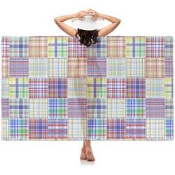 Blue Madras Plaid Print Sheer Sarong (Personalized)