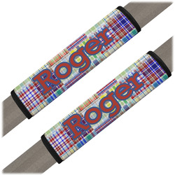 Blue Madras Plaid Print Seat Belt Covers (Set of 2) (Personalized)