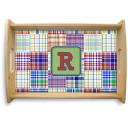 Blue Madras Plaid Print Natural Wooden Tray - Small (Personalized)