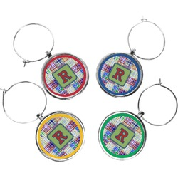 Blue Madras Plaid Print Wine Charms (Set of 4) (Personalized)