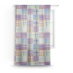 Blue Madras Plaid Print Sheer Curtains (Personalized)