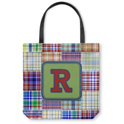 Blue Madras Plaid Print Canvas Tote Bag (Personalized)