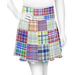 Blue Madras Plaid Print Skater Skirt (Personalized)